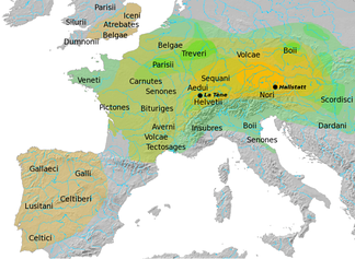Overview of the Hallstatt and La Tène cultures:   The core Hallstatt territory (HaC, 800 BC) is shown in solid yellow, The territories of some major Celtic tribes of the late La Tène period are labelled.
