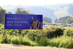 Hay Festival welcome sign 2016