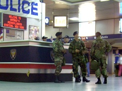 Army National Guard soldiers at New York City's Penn Station in 2004