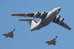 IAF's  Ilyushin Il-78MKI provides mid-air refueling to two Mirage 2000.