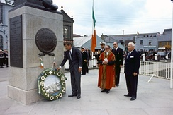 John F. Kennedy visiting the John Barry Memorial at Crescent Quay in Wexford, Ireland