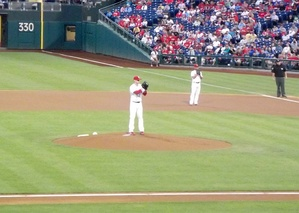 Kendrick pitches from a deliberate, slightly deceptive delivery; here he is in a game in September 2013