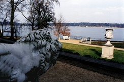 View of the Großer Wannsee lake from the villa at 56–58 Am Grossen Wannsee, where the conference was held