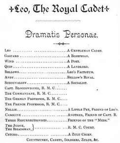 Dramatis personae for Leo, the Royal Cadet