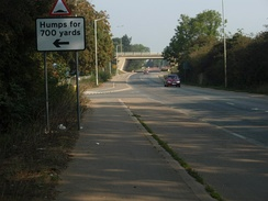 London Road looking north under the A1139 at Fletton