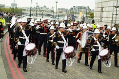 The Royal Marines Band Service is the only musical wing presently active in the Royal Navy.