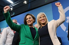 Mary Lou McDonald and Michelle O'Neill in February 2018