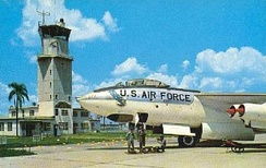 Postcard from Pinecastle AFB in the mid-1950s, showing the Pinecastle AFB control tower and a Boeing B-47E-90-BW Stratojet, AF Ser. No. 52-0477, of the 321st Bomb Wing on the ramp. This B-47 was sent to AMARC in November 1964. The control tower would continue to be used by McCoy AFB and as the first control tower for Orlando International Airport.