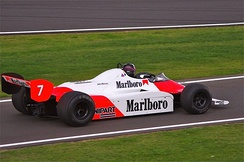 John Watson's 1981 British Grand Prix race winning McLaren, during the 2011 Silverstone Classic meeting