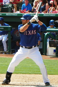 Moreland with the Rangers in 2011
