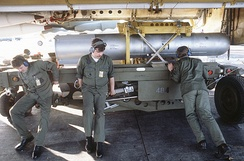 B28FI being unloaded from a Boeing B-52H in 1984. The 3 ground crew show the size of this weapon