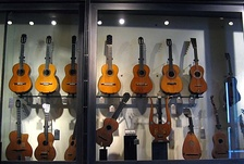 A variety of guitars.