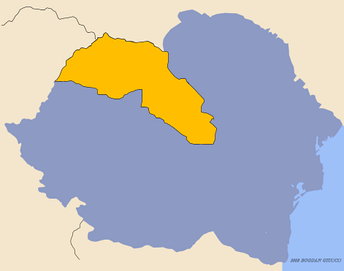 Romania in 1940, with Northern Transylvania highlighted in yellow