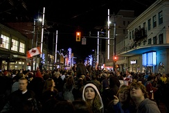 The Granville Entertainment District downtown can attract large crowds to the street's many bars and nightclubs.