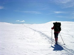 Ski touring in untracked terrain.