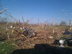 Tornado damage in Phil Campbell following the statewide April 27, 2011, tornado outbreak.