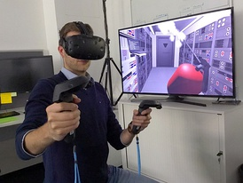 Researchers with the European Space Agency in Darmstadt, Germany, exploring virtual reality for controlling planetary rovers and satellites in orbit