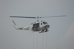 Royal Thai Air Force special operation troops rappel from UH-1 during a demonstration on Children day 2013