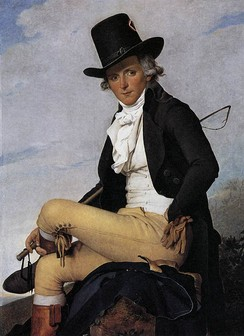 Pierre Seriziat in riding dress, 1795. His snug leather breeches have a tie and buttons at the knee and a fall front. The white waiscoat is double-breasted, a popular style at this time. His tall hat is slightly conical.
