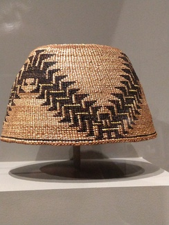 Basketry hat, attributed to the Shasta, made before 1916 from plant fibers