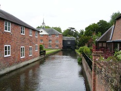 Looking from the town along the River Test towards the Whitchurch Silk Mill