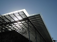Solar cells, viewed from outdoors visitor waiting area