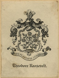 "The Roosevelt coat of arms as displayed on Theodore Roosevelt's bookplate, featuring three roses in a meadow (in reference to the family name, which means ""rose field"" in Dutch).[4]"