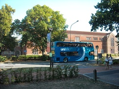 A Unilink double-decker bus passing through Highfield Campus