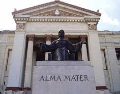 The Alma Mater statue by Mario Korbel, at the entrance of the University of Havana in Cuba.