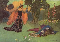 "Illustration of the fairy tale ""Beauty and the Beast"". The princess is standing alongside the ""beast"", who is lying on the ground."