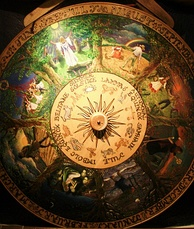 Painted Wheel of the Year at the Museum of Witchcraft, Boscastle, Cornwall, displaying all eight of the Sabbats