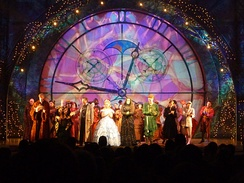 Touring cast members in the curtain call at a show in Omaha, Nebraska