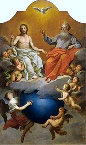 Holy Trinity (1756–1758) by Szymon Czechowicz, showing God the Father, God the Son, and the Holy Spirit, all of whom are revered in Christianity as a single deity[159]:233–34