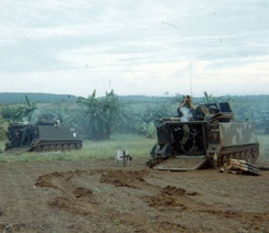 "The 4.2"" Mortar Platoon of D/16 Armor, 173rd Airborne on a fire mission in Operation Waco in Vietnam"