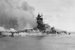 Admiral Graf Spee in flames after being scuttled in the Rio de la Plata Estuary off Montevideo, Uruguay.