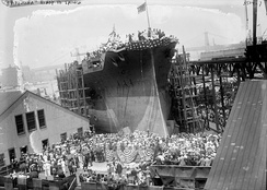 Stern-first launch of the battleship USS Arizona in 1915 at the Brooklyn Navy Yard