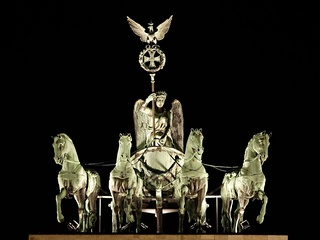 The Brandenburg Gate quadriga at night