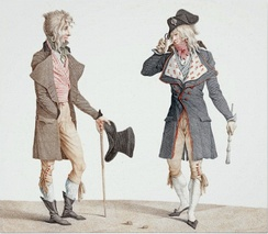 "Carle Vernet's 1796 painting showing two decadent French ""Incredibles"" greeting each other, one with what appears to be a top hat."