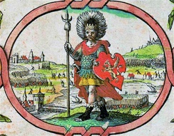 "Imaginary depiction of Cerdic from John Speed's 1611 ""Saxon Heptarchy"""