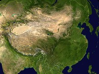 A composite satellite image showing the topography of China