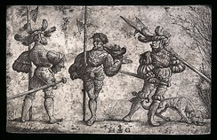 Daniel Hopfer, Three German Soldiers Armed with Halberds, c. 1510. An original iron etching plate from which the prints would be made. National Gallery of Art