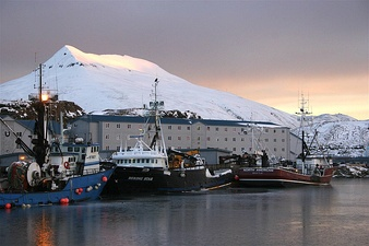Crab boats docked at Dutch Harbor in January 2009.