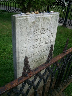 Emily Dickinson's tombstone in the family plot