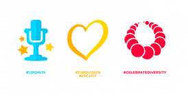 The three emoji exclusively created by Eurovision and Twitter.