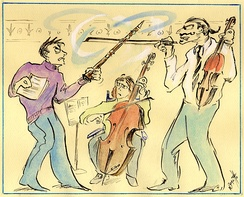 "Chamber musicians at each other, from ""The Short-tempered Clavichord"" by illustrator Robert Bonotto"