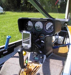 Cockpit of a glider with its joystick visible