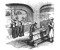 Drawing of workers melting gold in 1870