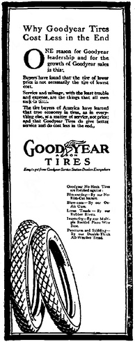 Goodyear Tires advertisement, Syracuse Post-Standard, February 26, 1916