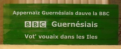 Publicity sticker: Learn Dgèrnésiais with the BBC - Guernsey BBC - Your voice in the Islands