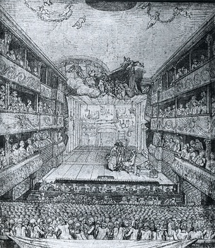 Drawing of the interior of the theatre of the Hôtel de Bourgogne by Pierre A. Wille, the younger (1767).